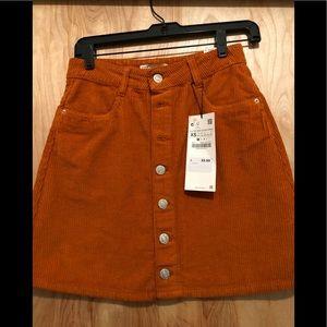 Zara Corduroy Orange Skirt Button down